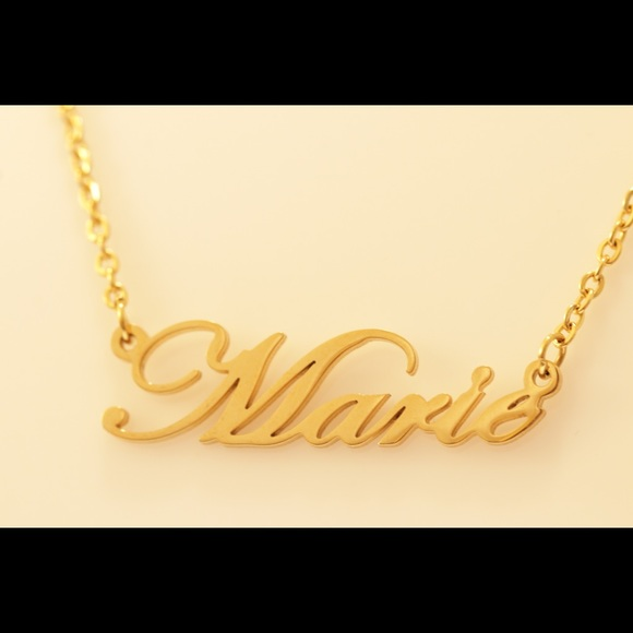 Zacria Maria Name Necklace 18ct Rose Gold Plated